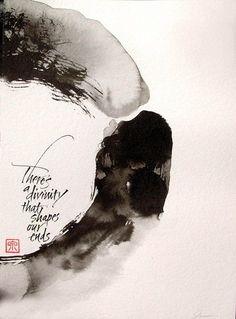 """""""divinity"""" calligraphy by Izumi Shiratani Calligraphy Types, Japanese Calligraphy, Calligraphy Letters, Japanese Typography, Islamic Calligraphy, Zen Painting, Chinese Painting, Art Blanc, Zen Art"""