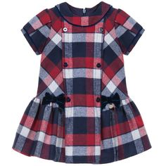 Baby girls cute brushed cotton dress by Mayoral with classic red, navy blue and grey checks. It has a double breasted button effect on the front with cute little velvet bows on the dropped waist and it fasten on the back with a concealed zip. <br /> <ul> <li>33% cotton, 67% polyester (soft brushed effect)</li> <li>Machine wash (30*C)</li> </ul>