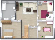 3D floor plan, level 2 -- Click LIKE when you find the Marilyn Monroe lithograph! ♥    Designed with RoomSketcher Business Edition:  http://www.roomsketcher.com/features/overview/