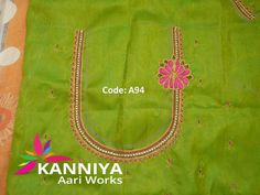 simple thread work done on blouse by kanniya aari works Zardosi Embroidery, Embroidery Works, Embroidery Designs, Blouse Patterns, Blouse Designs, Mirror Work Blouse, Zardosi Work, Saree Tassels, Thread Work