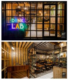 """The """"DRNK LAB CAFE"""" in Hubli reflects the desire of all foodies and coffee lovers. Cafe Interior Design, Arch Interior, Restaurant Interiors, Rustic, Contemporary, Home Decor, Country Primitive, Farmhouse Style, Interior Design"""
