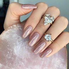 Rose gold glam nails