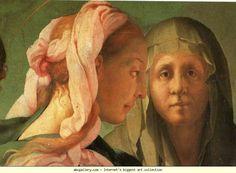 Pontormo. The Visitation. Detail. 1528-1529. Oil on wood. 202 x 256 cm. Carmignano, San Michele, Italy.