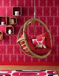 Dramatic Red Interior for Some Effects and Senses : Red Cherry Wallpaper Hanging Chair Furniture Among Wooden Material Also Cushion With Minimalist Shaped Design Ideas As Home Inspiration Hanging Swing Chair, Swinging Chair, Hanging Chairs, Swing Seat, Bubble Chair, Deco Cool, Retro Bedrooms, Monochromatic Color Scheme, Red Rooms