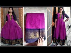 Kids Gown Design, Long Gown Design, Silk Kurti Designs, Lehenga Designs, Cotton Long Dress, Long Gown Dress, Saree Gown, Sari Dress, Anarkali Dress Pattern