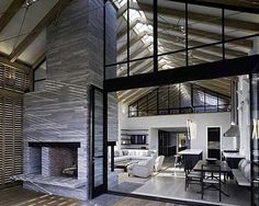renovated barn house (interior design). Loving the use of glass on the interior, this would be great with salvaged industrial windows.