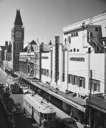 Electric trams on Hay Street in 1949 History of Perth, Western Australia - Wikipedia, the free encyclopedia Vintage Photographs, Vintage Photos, Aboriginal Man, Perth Western Australia, House Of Commons, Wild West, Old Photos, Big Ben, Aussies