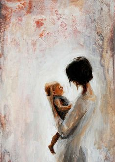 Mother And Child Painting, Painting For Kids, Painting Art, Mode Poster, Mother Art, Baby Art, Painting Inspiration, Cute Art, Watercolor Art