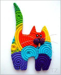 Le Chat-Detouteslescouleurs at dojoduchatgris. Happy Colors, True Colors, Rainbow Colors, Vibrant Colors, Animal Gato, Beautiful Color Combinations, World Of Color, Color Blending, Clay Creations