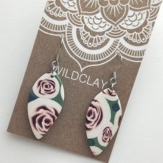 Wildclay Polymer Clay Earrings are lovingly hand crafted in South Australia. These are unique one of a kind earrings. Polymer Clay Earrings, Art For Kids, Dangles, Arts And Crafts, Rose, Unique, Gifts, Art For Toddlers, Presents