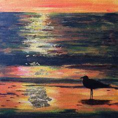 Golden sunset, 25 x 25 cm acrylics on board with 23,75 karat gold leaf FOR SALE - Janet Plantinga Art