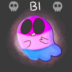 [Illustration of a happy ghost in the colours of the bisexual flag.]