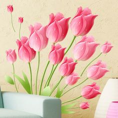 Seckill Free Shipping DIY Pink Flower Tulip Parlour Paster Environmental  45*60cm PVC Removable Decal. Nursery StickersWall ...