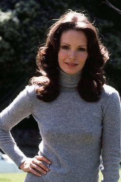 Jaclyn Smith smiling in grey sweater Charlie's Angels 11x17 Mini Poster