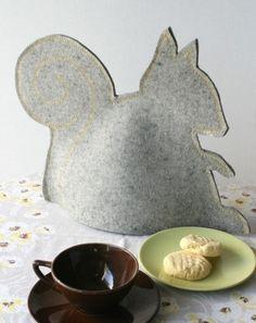 Gray Felted Wool Squirrel Tea Cozy by fuzzylogicfelt