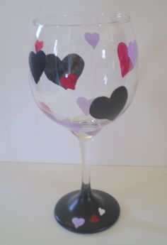 Valentine Hearts Wine Glass Hand Painted Chalkboard Black Purple and Red, via Etsy.