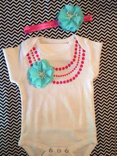 Cute baby girl gift set Necklace onesie,dark pink necklace and Tiffany blue flower headband Great for Photos