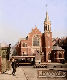 1903 tram passing the Wesleyan Church, St. Ann's, Nottingham, destroyed in 1941 bombing.
