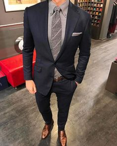e97a3c930a3 Nice subdued navy suit. Note: think about accents; Metal being gold or  silver