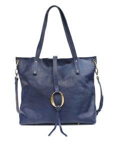 This Blue Inside Out Leather Tote is perfect! #zulilyfinds