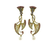 Masriera Y Carrera 18K Gold Diamond Ruby Pearl Plique a Jour Earrings Featured in our upcoming auction on February 7 2017!