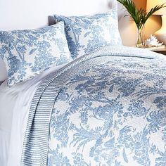 India Hicks Paradise Toile Cotton 3-piece Quilt Set