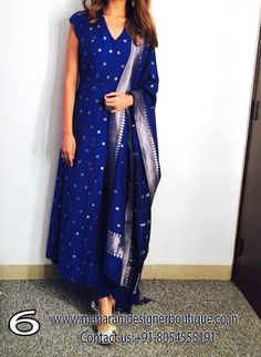 A blue handwoven kurta in cotton silk brocade with all over floral butti, paired with a matching churidaar and dupatta. Style it with a pair of golden mojris and elegant earrings to complete the look. Indian Suits, Indian Attire, Indian Dresses, Punjabi Suits, Salwar Suits, Indian Clothes, Indian Look, Indian Ethnic Wear, Ethnic Dress
