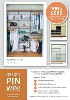 DESIGN PIN #WIN $500 Organized Living Closet Makeover #OrganizedLiving  #ClosetDesign