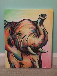 Elephant acrylic canvas painting : Created by Helen Khamis hkhamis@purdue.edu