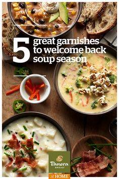 Welcome back, soup season. It's that time of year again, when we seek out the warm and comforting flavors of our favorite soups. Discover five great garnishes to make your bowl of soup more fun and flavorful anytime.