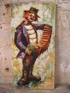 EXCELENTE CUADRO DE PAYASO. Tamaño: 80 x 40 cm. Realizado en los años 50, óleo sobre lienzo con mucho empaste, al modo impresionista. Autor anónimo.