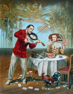 """Breakfast with Humpty-Dumpty"" -- by Michael Cheval (b.1966, Russian/German/American); absurdist, surrealist"