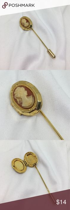"""🆕Vintage Gold Cameo Stickpin Locket An 80s revival vintage Stickpin with a resin cameo that covers a 3/4"""" locket. 3 vintage trends in one piece - what more could you want?? In excellent vintage condition. Vintage Jewelry Brooches"""