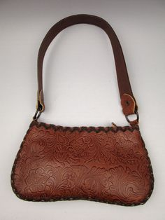Santi tooled brown leather bag arts and crafts floral design painted strap  #Santi #Hobo