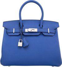 "Hermes 30cm Blue Electric Togo Leather Birkin Bag with Palladium Hardware T, 2015 Pristine Condition 12"" Width"
