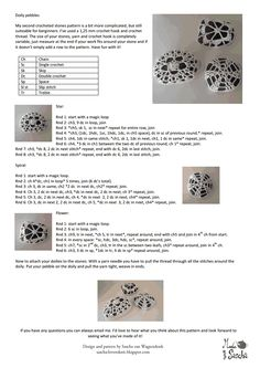 A pattern for pebbles covered in crochet. Crochet Chart, Thread Crochet, Crochet Motif, Crochet Designs, Crochet Doilies, Crochet Hooks, Crochet Patterns, Knitting Patterns, Crochet Dishcloths