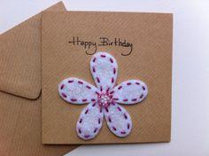 Happy Birthday Flower Card Felt Flower by RaspberryAndThyme