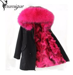 Holiday Season Sale. YOUMIGUE Pink Fox fur Parkalong style fashion winter fox fur jacket for lady fox fur outwearmulitcolor army green women parka ** Just click the image to visit the  AliExpress.com