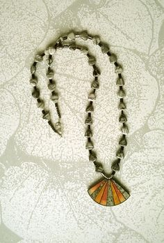 Picasso jasper beads, glass beads. The pendant is a part of an old earring. Designed and made by Peppina Pöyhönen.