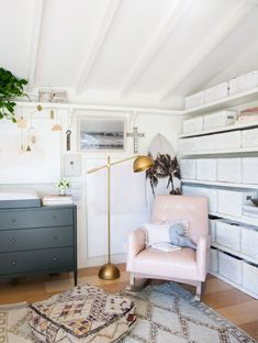 Of Course Leanne Ford's Baby Has the Coolest Nursery in L.A. #SOdomino #white #room #interiordesign #wall