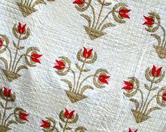 Antique Quilt Carolina Lily Applique Cotton by VintageQuiltStore, http://www.etsy.com/shop/VintageQuiltStore