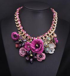 2015 Vintage Necklaces Gemstone Luxury Flower Crystal Jewelry Metal Stereo Short Necklace Female Hyperbole…