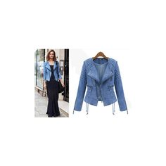 Denim Quilted Combination Biker Diamond Pattern Jean Jacket Lapel... ❤ liked on Polyvore featuring outerwear, jackets, denim jacket, jean jacket, biker jean jacket, blue blazers and slim fit blazer