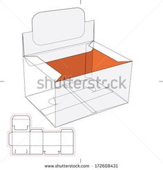 Box with Blueprint Layout - stock vector