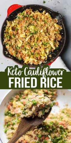 Keto Cauliflower Fried Rice Recipe, Low Calorie, Low Carb – swap the regular starchy white rice in this Asian favorite take out with homemade cauliflower rice. Vegetarian Recipes Videos, Good Healthy Recipes, Asian Recipes, Soup Recipes, Chicken Recipes, Healthy Food, Cauliflower Fried Rice, Cauliflower Recipes, Broccoli Fried Rice