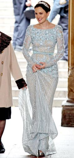 Leighton Meester as Blair Waldorf in an icy blue beaded Elie Saab wedding gown.