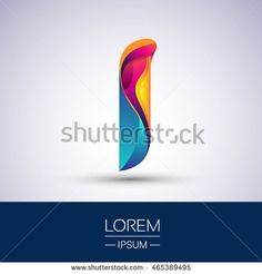 I letter colorful logo, Vector design template elements for your application or…