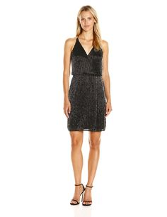Adrianna Papell Women's Speghetti Strap Plunging V-Neck Surplus Beaded Cocktail Dress