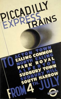 Piccadilly line express trains - London Underground poster by Edward McKnight Kauffer, 1932