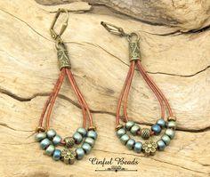 Seed Bead Dangle Leather Earrings, Boho Leather Teardrop Earrings In Matte Metallic Patina Iris, Antique Bronze Beaded Leather Earrings by CinfulBeadCreations on Etsy